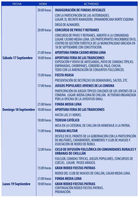 Programa Fiesta de la Chilenidad de Chillán Hoja 3