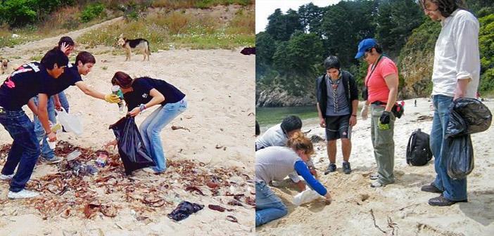 Jóvenes Limpiando Playa Ramuntcho